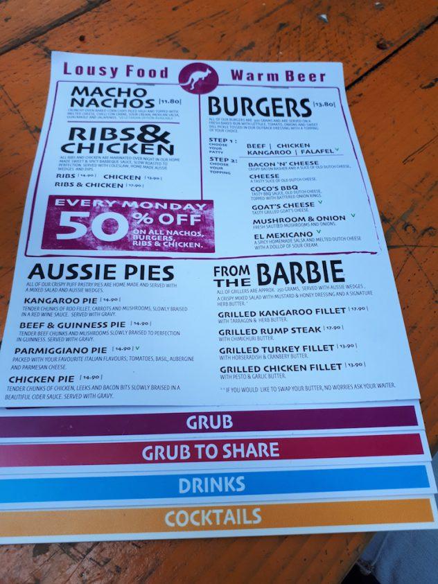 Foto van Het menu @ Coco's Outback
